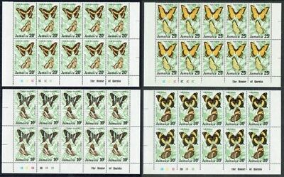 Jamaica 1975 Butterflies 1 set Corner imprint plate blocks 10, fine unmounted **