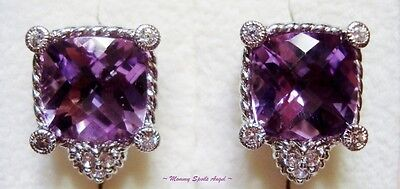 Judith Ripka Sterling Silver Amethyst Pierced Earrings New