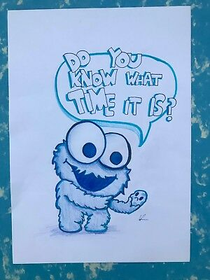 Cookie monster - art drawing Pencil, Original Art
