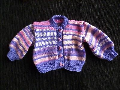 Baby clothes GIRL newborn 0-1m purple/pink soft cardigan patterned SEE SHOP!
