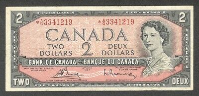 1954 $2.00 *A/G BC-38cA F ** SCARCE Canada Two Dollars ASTERISK REPLACEMENT Note