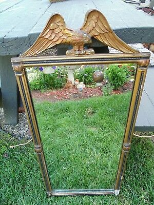 ~ Antique Vintage Federalist Style Mirror ~ Gold ~ Wood Carved Eagle ~