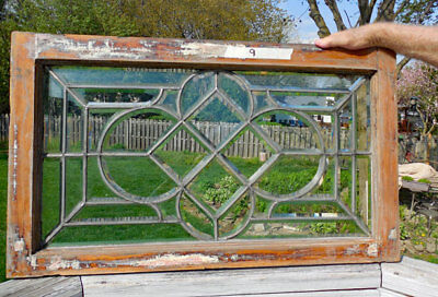 Antique  BEVELED  (LEADED, STAINED ) GLASS WINDOW   #9   ONE OF PAIR