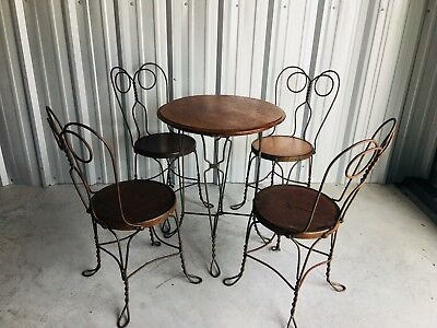 Antique Ice Cream Parlor/Soda Fountain Table and 4 Chairs Twisted Polish Brass