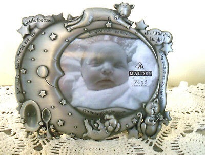 """NEW Baby Picture Frame Silver Cow Jumped Over the Moon Pic SZ 3 1/2"""" x 5"""" Unisex"""