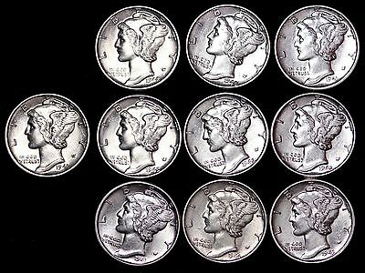 Lot of 10 Coins AU / UNC Mercury Silver Dimes Some D and S Mint FREE SHIPPING