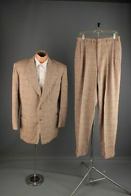 Vtg Men's 1950s Wool Brown Tweed Suit Jacket 42 Pants 31x34.5 Long 50s #4936