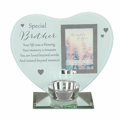 """Thoughts of You"" Glass Photo Frame Memorial Tea Light Candle Holder - Brother"