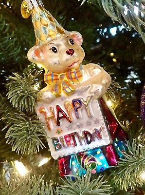 CHRISTOPHER RADKO - HAPPY BIRTHDAY BEAR Glass Christmas Ornament 0104240