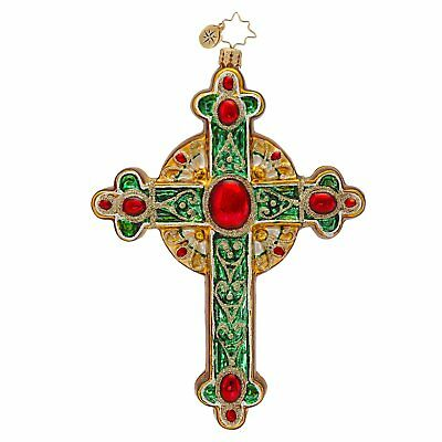 RADKO Cross TRADITIONAL ROOD 2014 Glass Religious Christmas Ornament 1017016