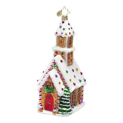 RADKO Gingerbread CANDIED CATHEDRAL Church 2015 Glass Christmas Ornament 1016691