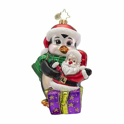 CHRISTOPHER RADKO Penguin PENNY'S TREASURE 2013 Glass Christmas Ornament 1016954
