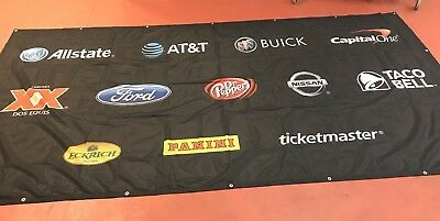 Large Fabric Banner With Advertising Logos 6x12 Ft