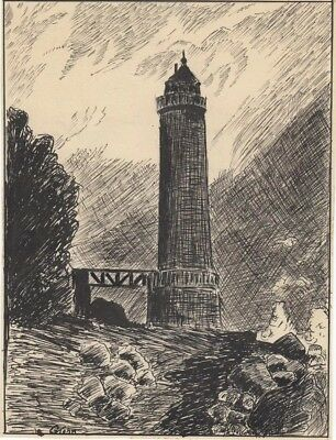 Original Pen & Ink Drawing by G. John - Lighthouse c.1931