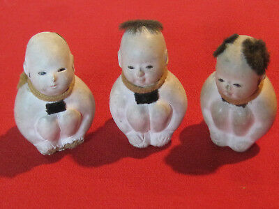 3 antique miniature Gofun Japanese seated male dolls with glass eyes