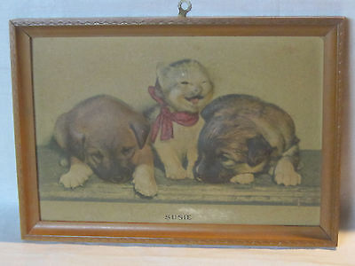 Vintage 1940 Susie cat & puppies 3D bas relief print, original brown wood frame