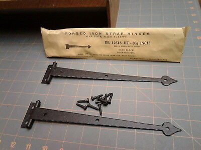 Pair Strap Hinges Spade Tips NOS DB12518 HT 3/8 Lipped Door Forged Iron NOS