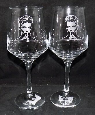 """New Etched """"DAVID BOWIE"""" Wine Glass(es) - Free Gift Box  - Large 390mls Glass"""