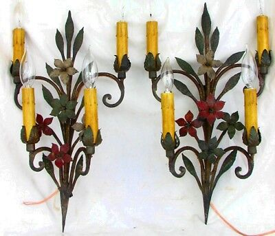 ANTIQUE WROUGHT IRON SCONCES *FLORAL* CONVERTED TO ELECTRIC & REWIRED c.1900