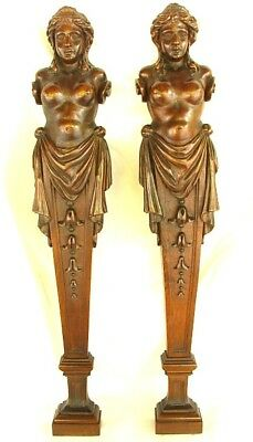 ANTIQUE PILASTERS *BARE BREASTED MAIDENS* CARVED WALNUT c.1850