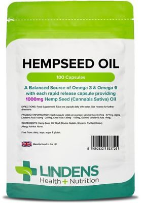 Hemp Seed Oil High Strength 1000mg 100 Capsules Hempseed Omega 3&6 Canabis