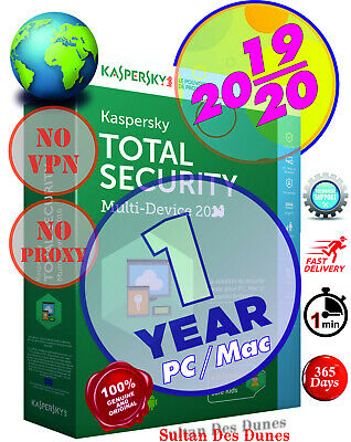 Kaspersky Total Security 1 PC/Mac 1YEAR ¤ 19/20 ¤ Instant Delivery ¤ World Wide