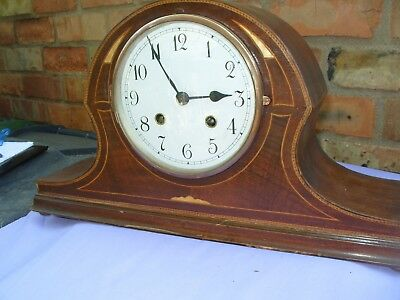 Mantel  Clock Working Mantel Clock Inlay Case  Striking  Movement Key & Pendulum