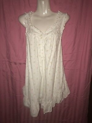 VTG White Cotton Nighty Camisole Night gown Lingerie Floral Print Flowers Medium
