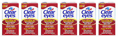 Clear Eyes Maximum Redness Relief Eye Drops, 0.5 Oz (6 Pack)