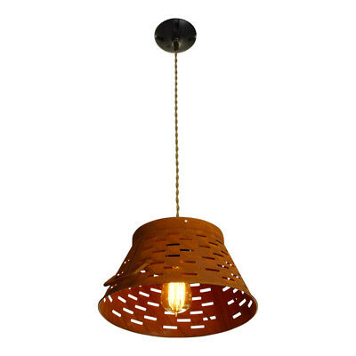 Punched Tin Pendant Light, Kitchen Lighting, Rusty Ceiling Light