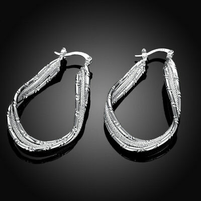 Womens 925 Sterling Silver Beauty Elegant Twisted U-Shaped Vogue Hoop Earrings