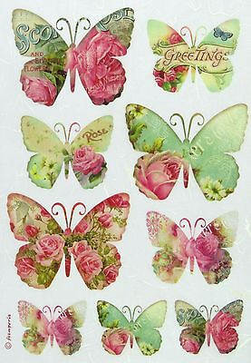 Rice Paper for Decoupage Scrapbook Sheet Stamperia Greetings Butterflies