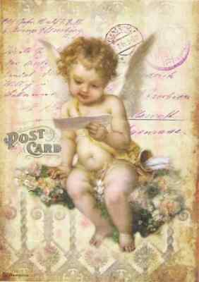 Rice Paper for Decoupage, Scrapbook Sheet, Stamperia Angel on Flower