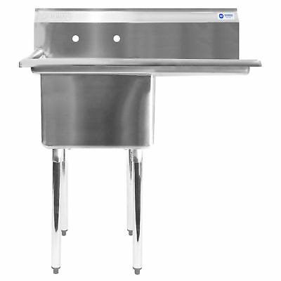 "Commercial Stainless Steel Kitchen Utility Sink with Drainboard - 39"" wide"
