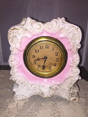 Antique Ceramic Porcelain Shelf Clock Pink And White 19c Signed