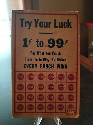 Vintage TRY YOUR LUCK FREE PRIZES Unused Unpunched Punch Card USA
