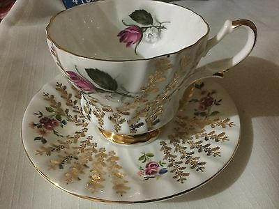 Queen Anne Bone China Cup And Saucer England  Gold Fronds