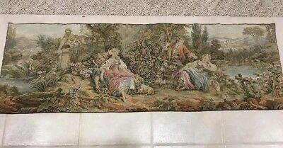 VINTAGE TAPESTRY WALL HANGING VICTORIAN COLONIAL FRENCH 58x19 ART DECO