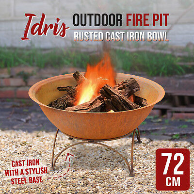Rusted Cast Iron Bowl 72cm Outdoor Fire Pit Fireplace Patio Heater Plant Bowl