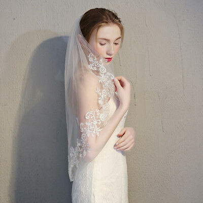 2 Layer 2T White Elbow Lace Edge Wedding Bridal Veil With Comb US