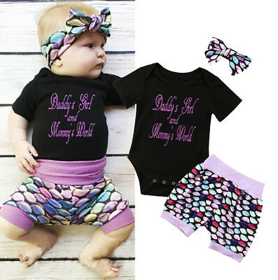Cute Newborn Toddler Baby Boys Girls Tops Romper Shorts 3Pcs Outfits Clothes Set