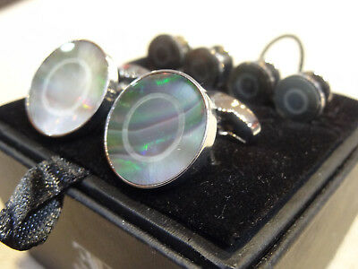 Enzone Silver Plate Abalone pau shell mother pearl Tuxedo Stud & Shirt Cufflinks