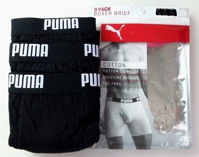 Puma Men's Boxer Briefs 3 Pack Large 36-38 Black White Logo Waist Cotton New