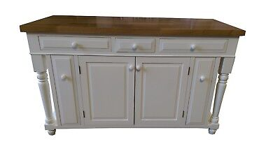 **5 Ft Off White Color Kitchen Island With Butcher Block Top, Made In