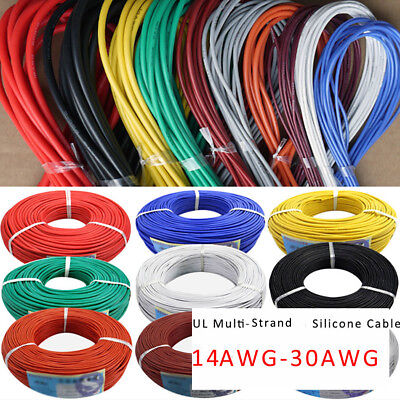 14/16/18/20/22/24/26/28/30AWG UL Strand Wire Silicone Flexible Cables 6 Colors