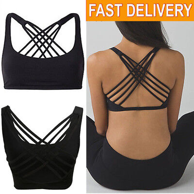 Women Lady Sports Bra Running Gym Yoga Fitness Tops Tank Workout Strappy Stretch