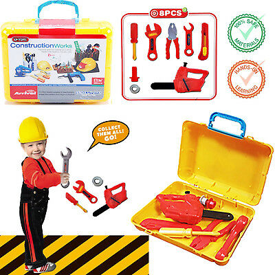 8Pcs Kids Children Diy Tools Carry Case Box Set Drill Building Construction Toy