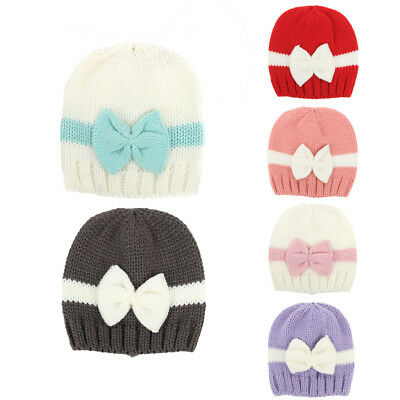 Cute Newborn Baby Girl Infant Winter Hat Bowknot Warm Knitted Beanie Cap EU