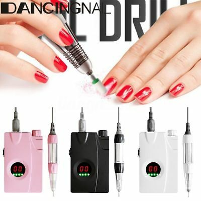 LCD Rechargeable Electric Nail Drill Machine File Cordless Manicure Pedicure Set