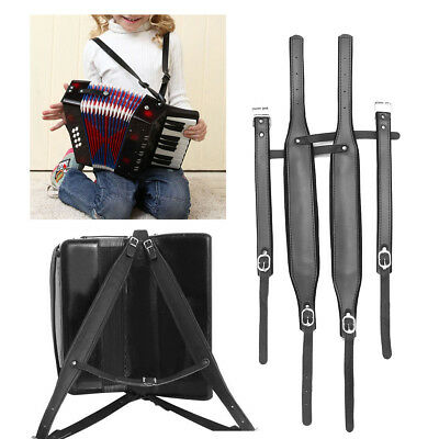 4Pcs Adjustable Black Leather Accordion Shoulder Straps for 80/96/120 Bass AU